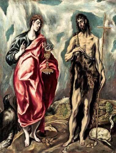 religious paintings - Picture -Los Santos Juanes (1605-10)- - Greco, El (D. Theotocopoulos)
