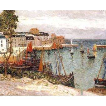 quadros de paisagens marinhas - Quadro -El puerto de Sauzon, Belle Isle en Mer- - Maufra, Maxime
