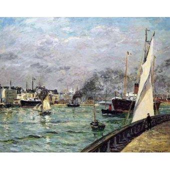 quadros de paisagens marinhas - Quadro -Partida de un barco de carga, Le Havre- - Maufra, Maxime