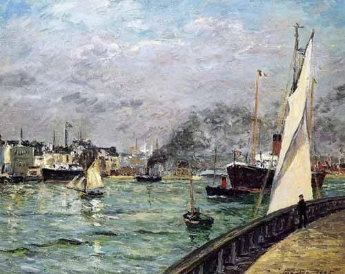 quadros-de-paisagens-marinhas - Quadro -Partida de un barco de carga, Le Havre- - Maufra, Maxime