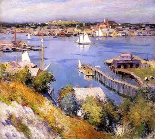 quadros-de-paisagens-marinhas - Quadro -Puerto de Gloucester- - Metcalf, Willard