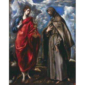quadros religiosos - Quadro -San Juan Evangelista y San Francisco- - Greco, El (D. Theotocopoulos)