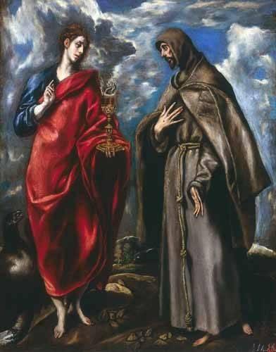 religious paintings - Picture -San Juan Evangelista y San Francisco- - Greco, El (D. Theotocopoulos)