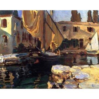 quadros de paisagens marinhas - Quadro -Un barco con vela dorada- - Sargent, John Singer