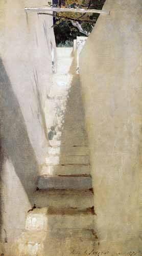 quadros-de-paisagens - Quadro -Escalinata en Capri- - Sargent, John Singer