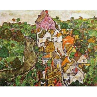 - Quadro -Paisaje de Krumau- - Schiele, Egon