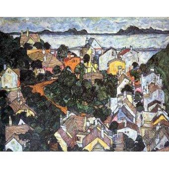 - Quadro -Paisaje de verano en Krumau- - Schiele, Egon