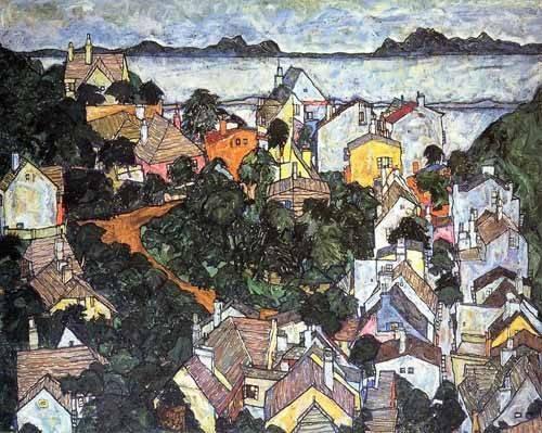 quadros-de-paisagens - Quadro -Paisaje de verano en Krumau- - Schiele, Egon