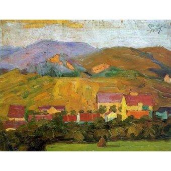 - Quadro -Pueblo con montañas- - Schiele, Egon