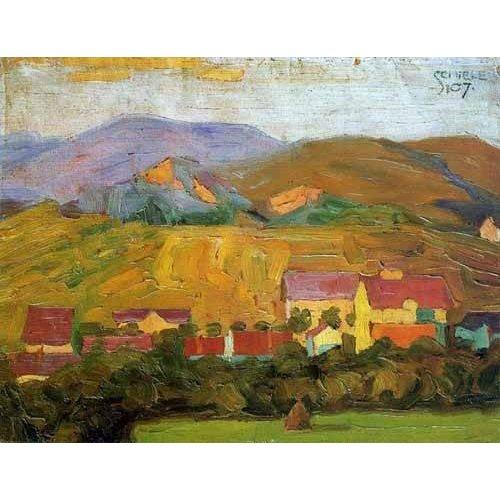 Quadro -Pueblo con montañas-