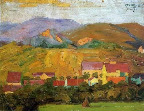 quadros-de-paisagens - Quadro -Pueblo con montañas- - Schiele, Egon