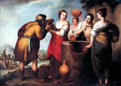 religious paintings - Picture -Rebeca y Eliecer- - Murillo, Bartolome Esteban