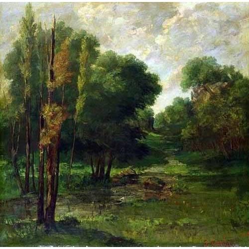 pinturas de paisagens - Quadro -Paisaje de un bosque-