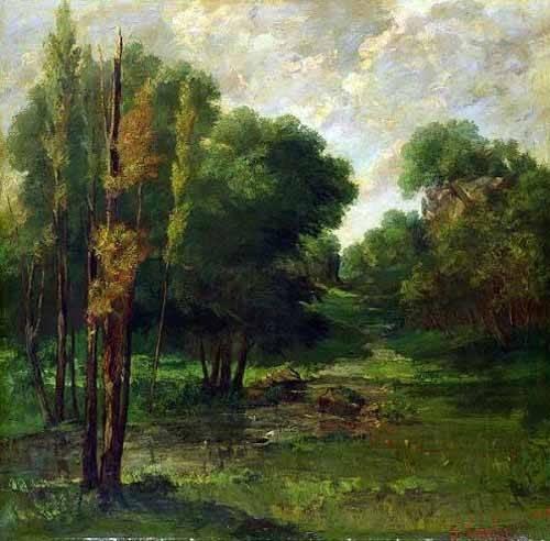 quadros-de-paisagens - Quadro -Paisaje de un bosque- - Courbet, Gustave