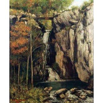 quadros de paisagens - Quadro -El abismo de Conches (1864)- - Courbet, Gustave