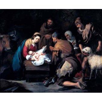 quadros religiosos - Quadro -Adoración de los pastores- - Murillo, Bartolome Esteban