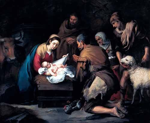 religious paintings - Picture -Adoración de los pastores- - Murillo, Bartolome Esteban