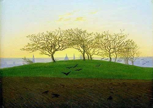 quadros-de-paisagens - Quadro -Cerros y campos arados cerca de Dresden- - Friedrich, Caspar David