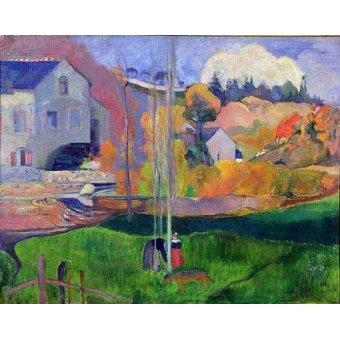 - Quadro -Paisaje de Bretaña: el molino de Mill- - Gauguin, Paul
