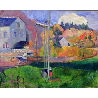 quadros de paisagens - Quadro -Paisaje de Bretaña: el molino de Mill- - Gauguin, Paul