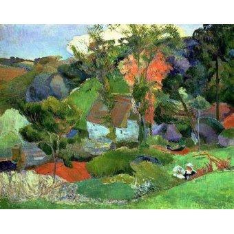 quadros de paisagens - Quadro -Paisaje en Pont Aven- - Gauguin, Paul
