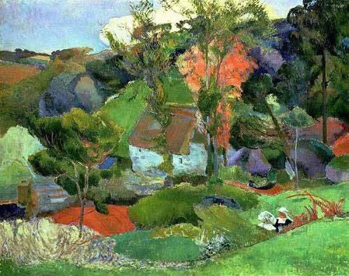 quadros-de-paisagens - Quadro -Paisaje en Pont Aven- - Gauguin, Paul