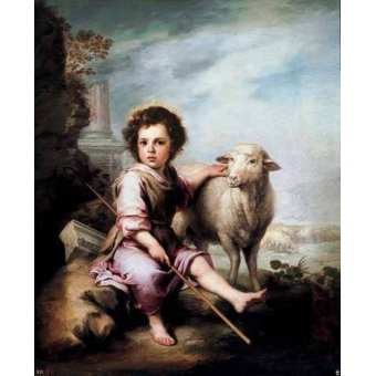 quadros religiosos - Quadro -El Buen Pastor- - Murillo, Bartolome Esteban