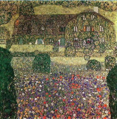 quadros-de-paisagens - Quadro -Country house by the Attersee- - Klimt, Gustav