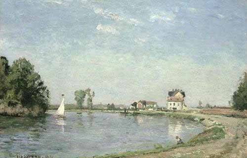 quadros-de-paisagens - Quadro -Al borde del río- - Pissarro, Camille