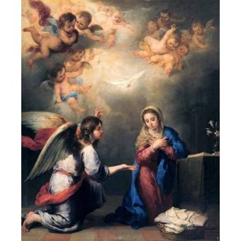 religious paintings - Picture -Anunciación- - Murillo, Bartolome Esteban