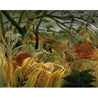 - Quadro -Tigre en una tormenta tropical- - Rousseau, Henri