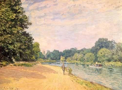 quadros-de-paisagens - Quadro -El Támesis y la Iglesia de Hampton- - Sisley, Alfred