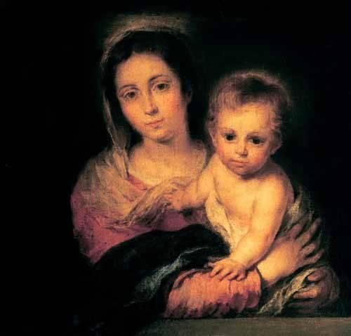 cuadros religiosos - Cuadro -La Virgen y el Niño- - Murillo, Bartolome Esteban