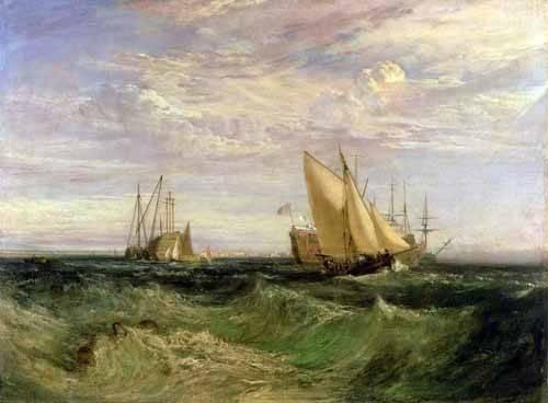 quadros-de-paisagens-marinhas - Quadro -La confluencia entre el Tamesis y el Medway- - Turner, Joseph M. William