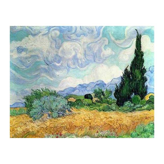 pinturas de paisagens - Quadro -Campo de cereales con cipreses-
