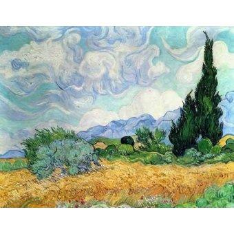 landscapes - Picture -Campo de cereales con cipreses- - Van Gogh, Vincent
