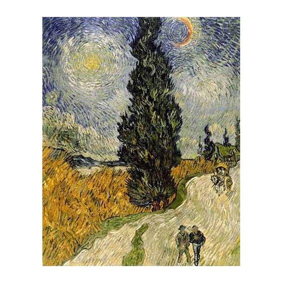 pinturas de paisagens - Quadro -Carretera con cipreses-