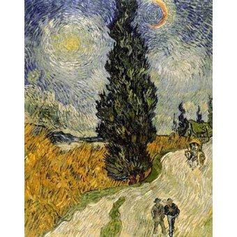quadros de paisagens - Quadro -Carretera con cipreses- - Van Gogh, Vincent