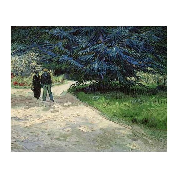 pinturas de paisagens - Quadro -Pareja en un parque de Arles-