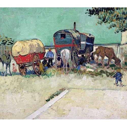 Quadro -Las caravanas de un campamento gitano cerca de Arles-