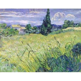 quadros de paisagens - Quadro -Paisaje con maíz verde- - Van Gogh, Vincent
