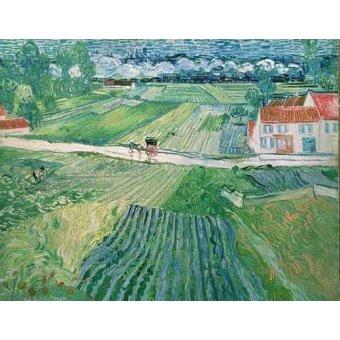 quadros de paisagens - Quadro -Paisaje en Auvers despues de llover- - Van Gogh, Vincent